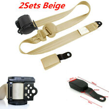 2X Beige Iron Plate Style 3 Point Retractable Car Seat Belt Nylon Safety Straps