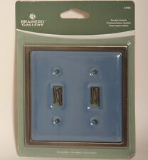 Stoney Blue Ceramic Brushed Nickel Double Light Switch Wallplate Wall Plate