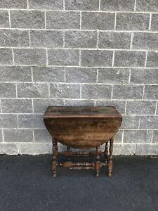Antique Vintage wood wooden Twist Double Drop Leaf Table Oval Brown