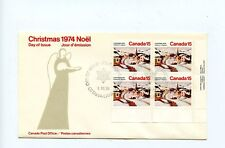 Canada FDC Plate Block Christmas #653 Paintings Art Gagnon Village LR 1974 H277