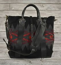 Ralph Lauren RRL Vintage Leather Wool Southwestern Indian Blanket Tote Bag 1cea0f88feebb