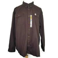 Carhartt Mens 3XL Original Fit Oakman Sandstone Twill Brown Button Down Shirt