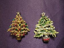 2 Christmas Trees Pin Brooches - Gold Tone W/ Rhinestones & Enamel Silver Toned