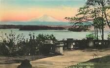 Vintage Hand Colored Postcard Mount Ranier And Lake Washington Seattle WA