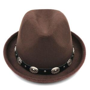 Fashion Unisex Felt Fedora Cap Trilby Hat Wool Blend Bowler Caps Leather Band