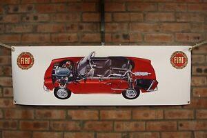 fiat 124 spider sport large pvc  WORK SHOP BANNER garage  SHOW BANNER