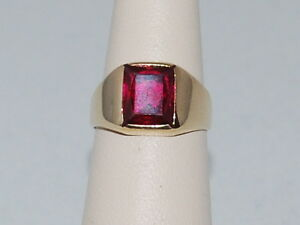 14k Yellow Gold Ring with a Solitaire Ruby (July Birthstone) & Weighs 4.5 Grams