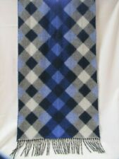Cashmere Scarf Wrap Shawl Blue White & Black Plaid Talbots