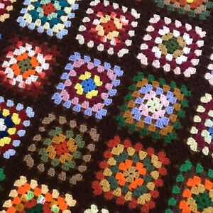 VTG Afghan Crochet Granny Square Blanket Handmade Throw Quilt Multicolor 73x59