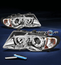 2002-2005 BMW E46 3 SERIES 4DR HALO PROJECTOR HEAD LIGHTS+BLUE DRL LED 2003 2004