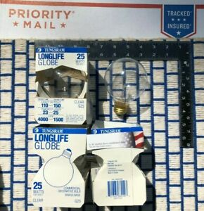 BOXof 4 new CLEAR 25w GLOBE MAKEUP MIRROR VANITY E26 light bulb G25 Tungsram GE