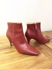 Zara  Red Leather High Heel Ankle Boots With Mini Studs Size 38 UK 5 BNWT