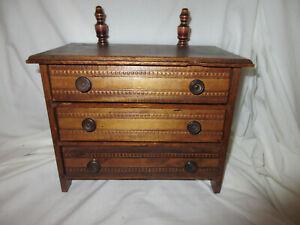 """Antique Wooden Oak 7"""" Doll Furniture 3 Drawer Dresser"""