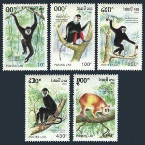 Laos 1098-1102, MNH,  Apes 1992. Black gibbon, Douc langur, Pileated gib  X33805
