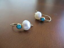 Victorian /Art Deco 14k solid Yellow Gold White Pearl/Opal Hook Earrings 1""