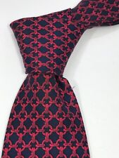 Men's Hermes Skinny Silk Red Blue Chain Neck Tie Made in France 1F10C