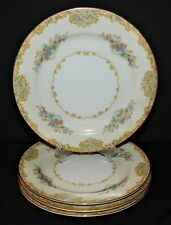 4 Noritake Alvin 95649 China Dessert Salad Plates Japan 1933  Floral Gold Trim