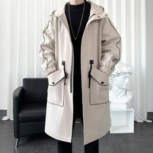 Men Hooded Long Trench Coats Zip Up Open Front Tops Jackets Overcoats