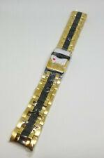 Invicta Reserve Bolt Steel Two Tone Black Yellow Gold Band Strap Bracelet