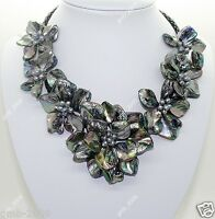 Fashion Women's Natural Black MOP Shell Freshwater Pearl 7 Flowers Necklace 18""