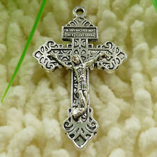 50 tibetan silver cross and 50 bronze plated cross charms pendant 56x34mm