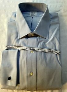 Brooks Brothers Men's Dress Shirt  Classic 17-34 Blue French Cuffs NWT