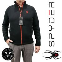 Spyder Mens Constant Full Zip Sweater Black Large Polyester Zipper Pockets NWT!