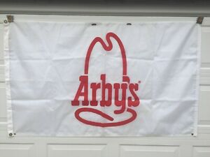 Vintage Arby's Flag Roast Beef Restaurant Curtain Sandwich Rodeo Hat Curly Fry