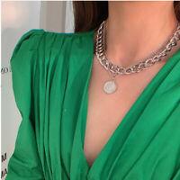 Vintage Punk Cuban Chains Coin Pendant Choker Necklace For Women Men Jewelry