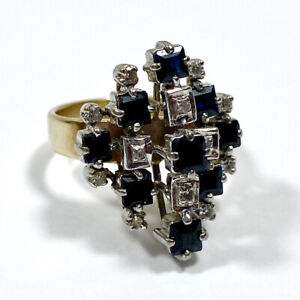 Vintage 9ct Gold Cluster Ring With Sapphires And Diamonds Size N 1/2 Custom 1970