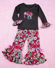 2-Pc. Girls' Ruffle Pant Set, Appliquéd Elephant, Black, Ruffled Pant, 2T/3T