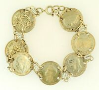 "Sterling Silver 6.5"" Three Pence Coin Link Bracelet (16mm Wide)"