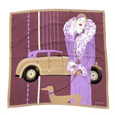 "Lady Brioni Silk Scarf 33"" Square Elegant Woman Dog Car Tan Lavender Rolled Edge"
