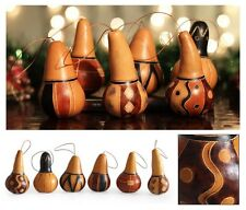 #1180 Six Assorted Natural Decor Gourd Christmas Decorative Tree Ornament Art