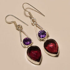 """Lovely ! Faceted Amethyst Iolite Quartz Gemstone Silver Plated Earring 2""""(EE-64)"""
