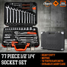 """77pcs Socket Set 1/2"""" 1/4"""" Metric Tool Kit Combination Spanners Wrenches Bits"""