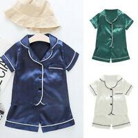 Toddler Kids Baby Boys Girl Short Sleeve Pajamas Sleepwear T shirt Shorts Set