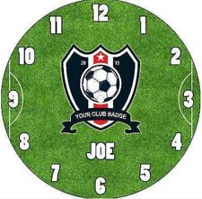 Personalised Custom Named Football Club Team Badge CD Wall Clock Children Kids