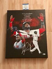 David Ortiz Signed 16x20 Stretched Canvas Papi Boston Redsox Beckett Cert BAS