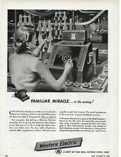 1950 Western Electric Phone Dial Girl Assembly Line Bell Original Print Ad