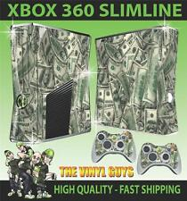 Xbox 360 Slim autocollant bons du dollar l'argent en espèces benjamins peau & 2 pad skins