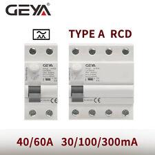 Geya A Type Elcb Circuit Breaker 2P 4P 40/63Amp 100/300mA Rccb Rcd Din Rail