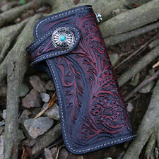 Handmade Vintage Biker Punk Unisex Leather Long Wallet Button Purse Card Holder