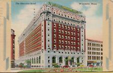 Vtg Sheraton Hotel Street Scene Old Cars Worcester Massachusetts Ma Postcard