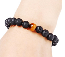 Natural Black Lava Stone Tiger's Eye Bracelet Volcano Stone Aromatherapy Health