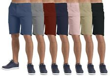 New Men's Shorts Stretch Chino Casual Flat Front Spandex Slim Fit Half Pant