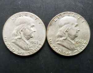 (2) Franklin Half Dollars - 1963-P - 90% Silver - Extremely Fine