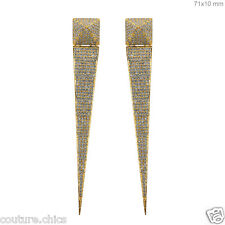 New Collection!! 18kt Yellow Gold Diamond Studded Stick Earrings Women's Jewelry