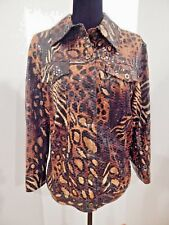 Ruby Rd New Wet Look Tiger Print Stretch Jacket Button Front Size 18W  Gorgeous