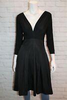 BASQUE Brand Black V Neck Pleated Skirt Day Dress Size 12 BNWT #SO70